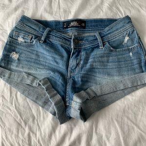 low rise, denim short shorts